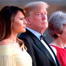 US President Donald Trump and his wife Melania are welcomed by Prime Minister Theresa May and her husband Philip May at Blenheim Palace, Oxfordshire. Photo: Stefan Rousseau/PA Wire