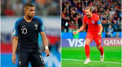 Kylian Mbappe (left) and Harry Kane (right).
