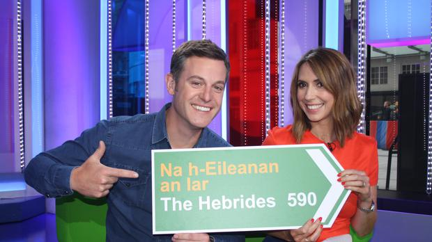 The One Show presenters Matt Baker and Alex Jones will broadcast live from the Hebrides next week (BBC/PA)