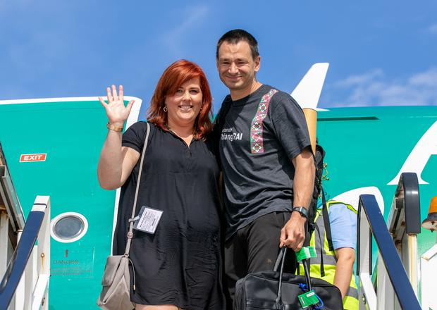 Pictured is Jim Warny being greeted by his fiance Asia Mania after he landed in Shannon Airport this morning. Pic Arthur Ellis.