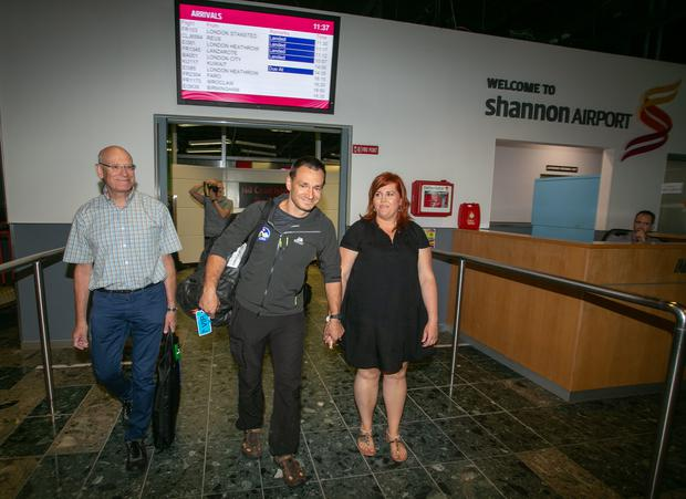Friday, 13 July 2018: Shannon Airport today hosted one of its great homecomings, as Ennis based diving expert Jim Warny touched down after taking part in the heroic rescue mission for 12 Thai students and their soccer coach, that gripped the world. Pic Arthur Ellis.