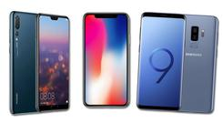 From left, Huawei's P20 Pro, Apple's iPhone X and Samsung's Galaxy S9 Plus