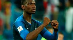 France's Paul Pogba celebrates victory over Belgium