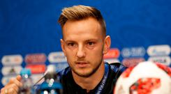 Croatia's Ivan Rakitic answers question at a press conference in Moscow yesterday. Photo: Darko Bandic/AP