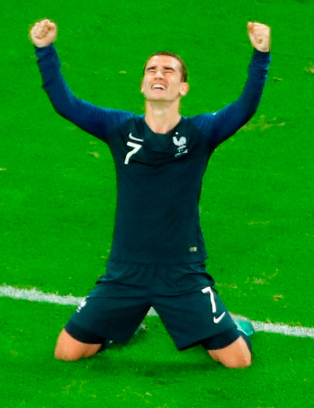 DELIGHT: Antoine Griezmann falls to his knees after France had got the better of Belgium to reach the World Cup Final. Photo: Anton Vaganov/Reuters