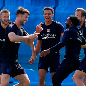 LARK IN THE PARK: England players enoy a light moment in training ahead of today's World Cup 3rd/4th place play-off clash with Belgium in St Petersburg. Photo: Henry Romero/Reuters
