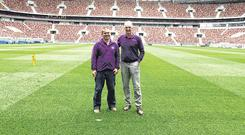 George Mullan (right) with Maxim Radomsky, the head groundsman at the Luzhniki Stadium in Moscow