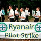 Ryanair pilots picket outside Dublin Airport. Photo: Brian Lawless/PA Wire