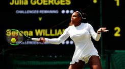 Serena Williams in action during her semi final match against Germany's Julia Goerges. Photo: Andrew Boyers/Reuters