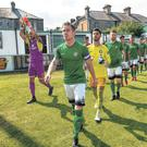 Bray Wanderers captain Conor Kenna leads out his team before an SSE Airtricity League Premier Division match at the Carlisle Grounds in Bray, Co Wicklow. Photo: Matt Browne/Sportsfile