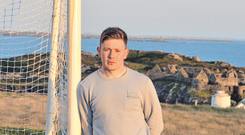 Galway goalkeeper Ruairí Lavelle in relaxed mood at home on Inishbofin's pitch