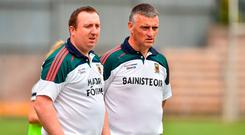 Mayo manager Peter Leahy, right, and selector Michael Reynolds during the TG4 All-Ireland Ladies Football Senior Championship Group 4 Round 1 match between Cavan and Mayo at St Tiernach's Park, in Clones, Monaghan. Photo by Oliver McVeigh/Sportsfile