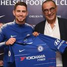 Chelsea unveil Jorginho (left) with new head coach Maurizio Sarri (right) CREDIT: GETTY IMAGES