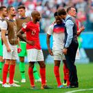 England manager Gareth Southgate consoles Danny Rose during the FIFA World Cup third place play-off match at Saint Petersburg Stadium.
