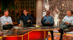 ITV pundit panel featuring Gary Neville, Ian Wright and Lee Dixon share a laugh as Roy Keane loses his cool live on air