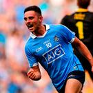Niall Scully celebrates after scoring the first of his two goals in Dublin's victory over Donegal at Croke Park last night. Photo: David Fitzgerald/Sportsfile