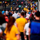 Supporters make their way into Croke Park before last night's inaugural games in the Super 8. Photo: David Fitzgerald/Sportsfile
