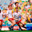 Conor Meyler celebrates after scoring Tyrone's second goal during the victory over Roscommon in Croke Park yesterday. Photo: David Fitzgerald/Sportsfile