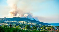 Inferno: Firefighters and the Air Corps battled a gorse fire on Bray Head. Photo: Owen Breslin