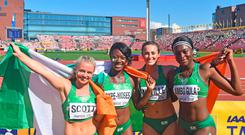 The 4x100 team of Gina Akpe-Moses, Patience Jumbo-Gula, Molly Scott and Ciara Neville broke an Irish record, finishing second at the World U20s in Tampere, Finland — in the time of 43.90. Photo: Jussi Nukari
