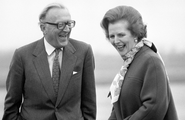 LONG SERVICE: Lord Carrington with Margaret Thatcher in March 1982. He resigned as British foreign secretary the following month after Argentina's invasion of the Falkland Islands. Photo: PA