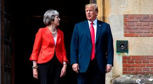 US President Donald Trump with British Prime Minister Theresa May. Photo: Jack Taylor/PA Wire