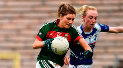 'Grace Kelly (l) fired Mayo four points clear.' Photo: Oliver McVeigh/Sportsfile