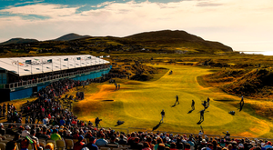 A general view of the 18th green at Ballyliffin. Photo: Ramsey Cardy/Sportsfile