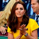 The Duchess of Cambridge in the royal box on centre court on day thirteen of the Wimbledon Championships at the All England Lawn Tennis and Croquet Club, Wimbledon. PRESS ASSOCIATION Photo. Picture date: Sunday July 15, 2018. Neil Hall/PA Wire.