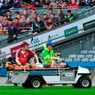 Paul Conroy of Galway is helped off the field on a stretcher after picking up an injury during the GAA Football All-Ireland Senior Championship Quarter-Final Group 1 Phase 1 match between Kerry and Galway at Croke Park, Dublin. Photo by Piaras Ó Mídheach/Sportsfile
