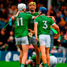 Limerick's Kyle Hayes, Dan Morrissey (centre), and Mike Casey celebrate their All-Ireland SHC quarter-final win over Kilkenny. Photo: Ray McManus/Sportsfile