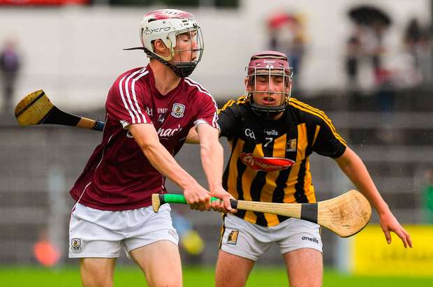 Galway's Donal O'Shea in action against Darragh Maher of Kilkenny during the Electric Ireland GAA Hurling All-Ireland Minor Championship match. Photo: Ray McManus/Sportsfile