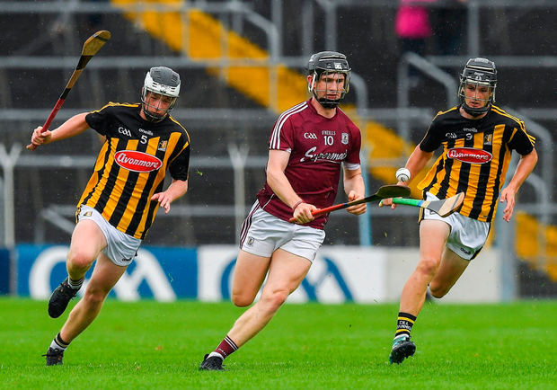 Galways' Diarmuid Kilcommins in action against Jamie Harkin, left, and Conor Kelly of Kilkenny. Photo: Ray McManus/Sportsfile