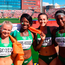 Molly Scott, Gina Akpe-Moses, Ciara Neville and Patience Jumbo-Gula celebrate after winning silver in the women's 4x100m relay at the World U-20 Champ[ionships in Tampere