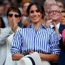 Meghan Markle at the women's singles final at Wimbledon in London on Saturday. Photo: REUTERS/Toby Melville