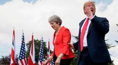 US President Donald Trump with Theresa May. Photo: REUTERS