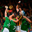Kilkenny's TJ Reid rises above the Limerick trio of Sean (2) Finn, Dan Morrissey (7) and Diarmaid Byrnes during the All-Ireland SHC quarter-final at Semple Stadium Photo: Sportsfile