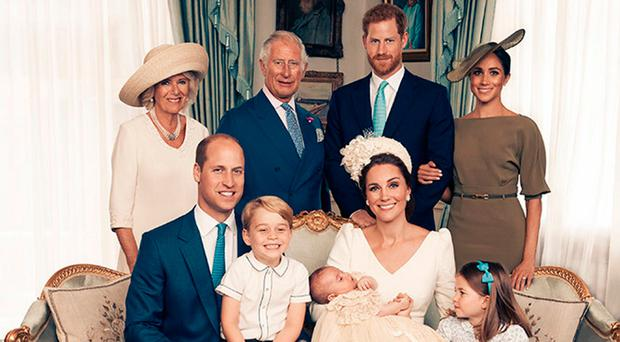 The Duke and Duchess of Cambridge have released this official photograph to mark the christening of Prince Louis on Monday 9th July Photo: Matt Holyoak/Camera Press