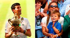 Novak Djokovic was thrilled to have his son Stefan in the crowd