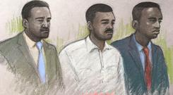 Court artist sketch by Elizabeth Cook of (left to right) Merse Dikanda, Jonathan Okigbo, and George Koh at The Old Bailey, London where they are on trial accused of the murder of 25-year-old Harry Uzoka from west London. Elizabeth Cook/PA Wire
