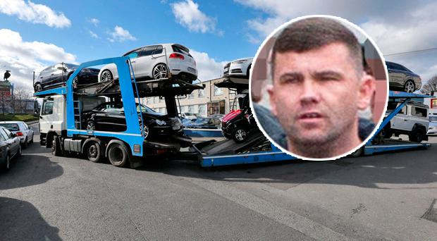 Kinahan gangster Liam Byrne (inset) and some of the luxury cars seized