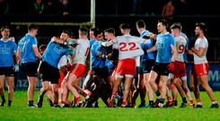 There was little love lost when Tyrone hosted Dublin in Omagh during the National League in February. Photo: Oliver McVeigh/Sportsfile