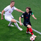 Croatia's Luka Modric called the shots in midfield as Jordan Henderson was as close to a ball-playing midfielder that England could find Photo: Fred Lee/Getty Images