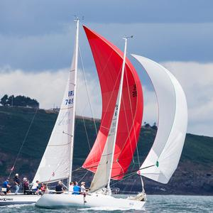 Maximus skippered by Paddy Kyne and Diamond skippered by James Mathews on the opening day of racing at Volvo Cork Week 2018 organised by the Royal Cork Yacht Club. Photograph: David Branigan/Oceansport