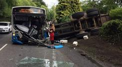 A bus and tractor collided on the road on Monday afternoon.