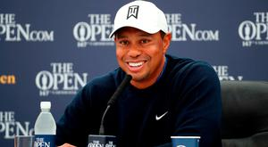 USA's Tiger Woods during a press conference on preview day three of The Open Championship 2018 at Carnoustie