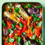 Escalivada: Slow roasted peppers, aubergines, and tomatoes with a basil and almond dressing