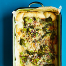 Quiche with broccoli, gorgonzola, chilli and walnut