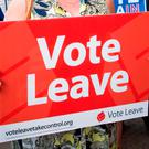 File photo dated 7/6/2016 of a Vote Leave placard during the EU referendum. The Electoral Commission has announced that the lead Brexit campaign group Vote Leave has been fined and referred to the police for breaking electoral law. Photo: Stefan Rousseau/PA Wire