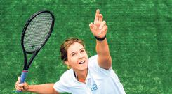 Amy Bowtell has her eyes firmly on the ball at the launch of the AIG Irish Open Tennis Championships in Carrickmines. Photo: Ramsey Cardy/Sportsfile